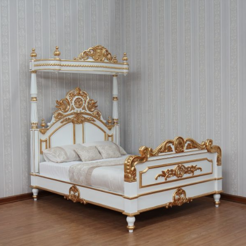 Four Poster Half Tester Bed in White and Gold